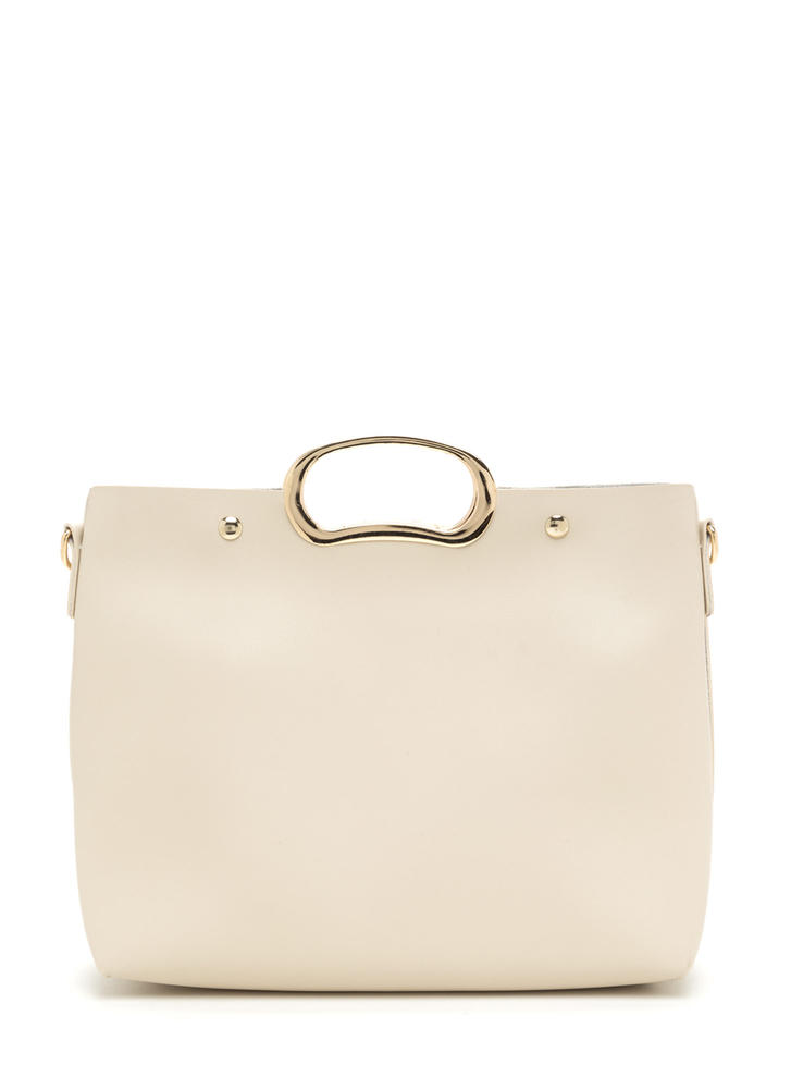 Day To Day Sleek Faux Leather Bag IVORY