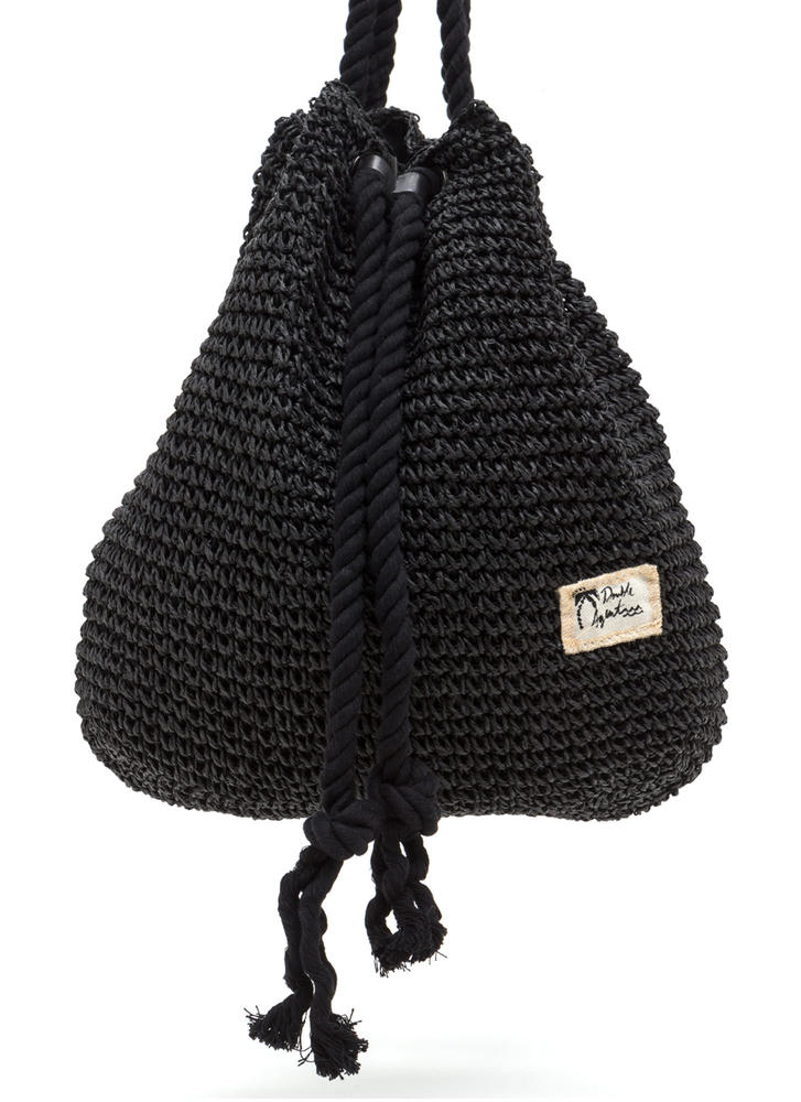 Nautical Charm Woven Straw Backpack BLACK