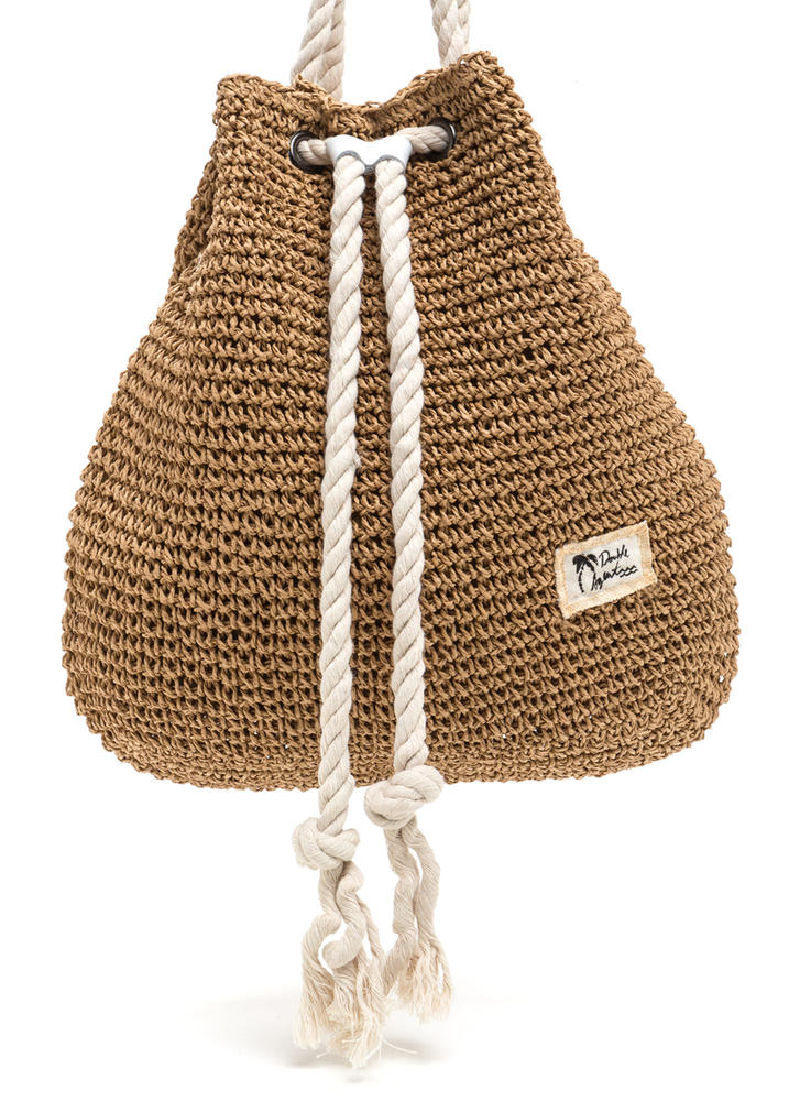 Nautical Charm Woven Straw Backpack BROWN