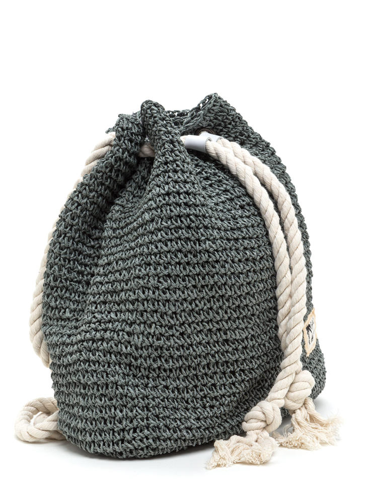 Nautical Charm Woven Straw Backpack GREY