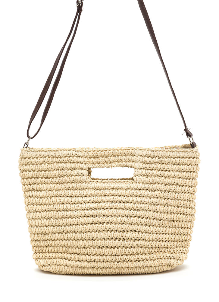 Rustic Lifestyle Woven Straw Bag NATURAL