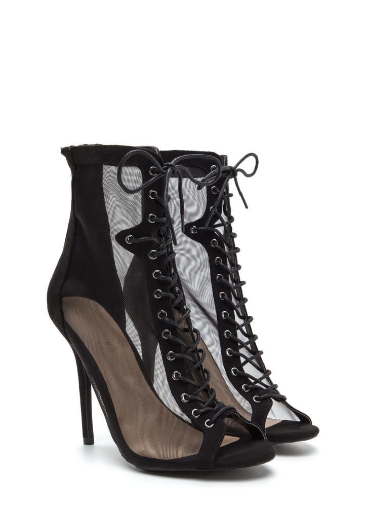 Always Sheer For You Lace-Up Booties BLACK