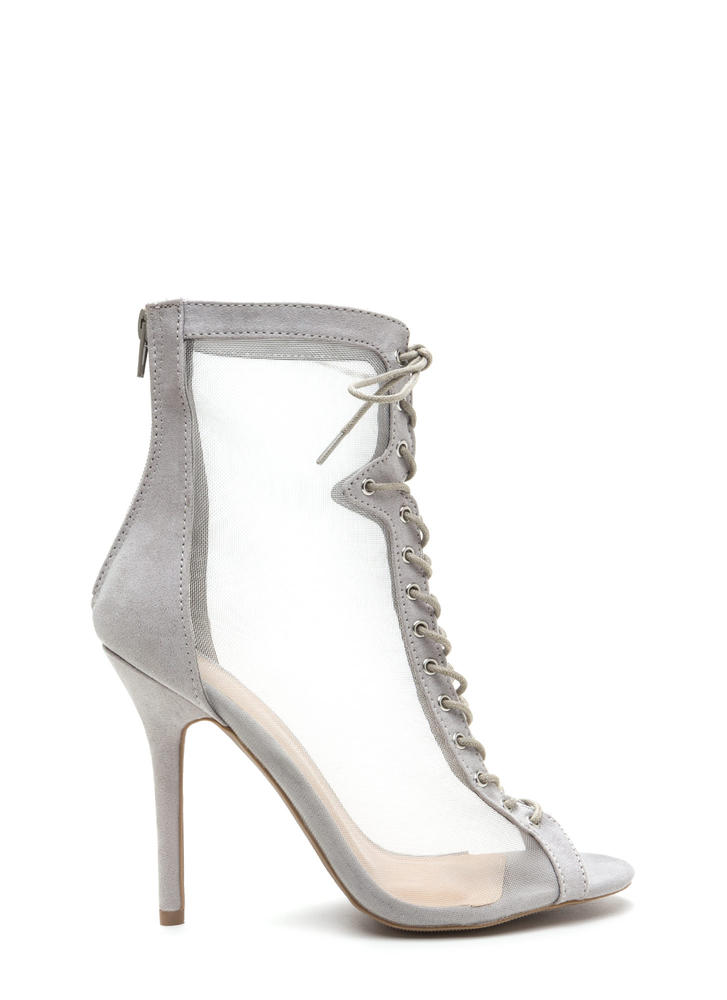 Always Sheer For You Lace-Up Booties LTGREY