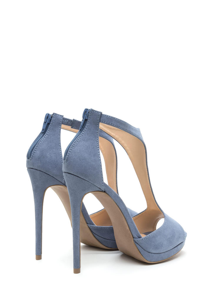 To A T-Strap Peep-Toe Platform Heels BLUE