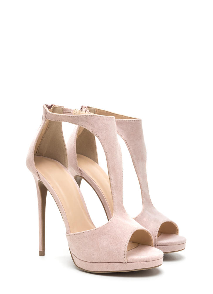 To A T-Strap Peep-Toe Platform Heels NUDE