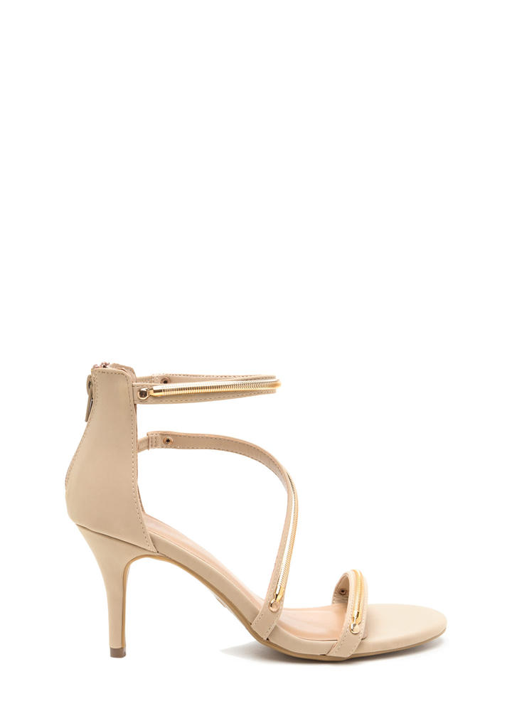 Chain Gang Strappy Faux Nubuck Heels