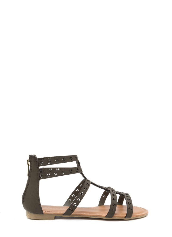 Lead The Way Perforated Caged Sandals