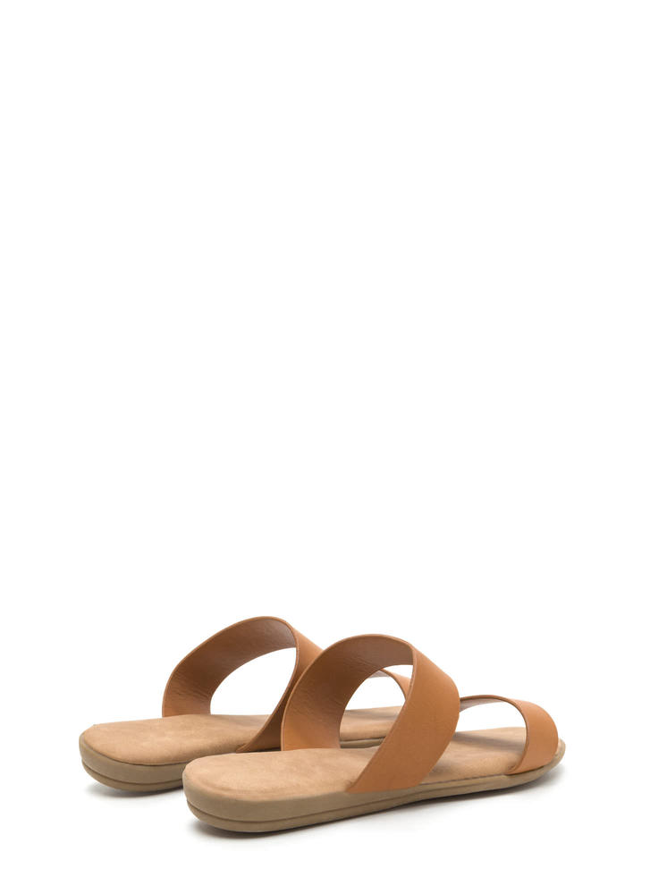 Double Up Faux Leather Slide Sandals TAN