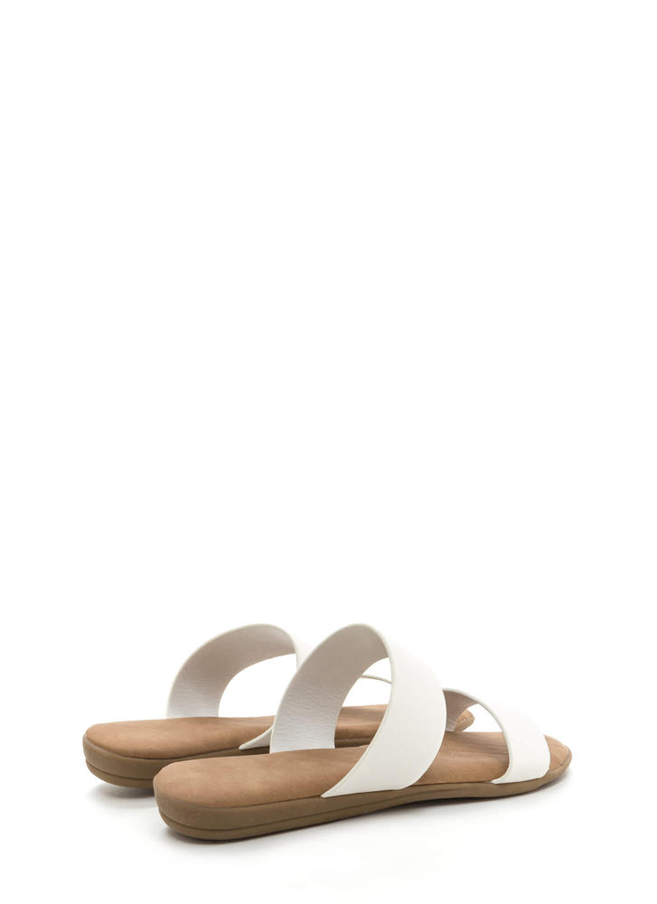 Double Up Faux Leather Slide Sandals WHITE
