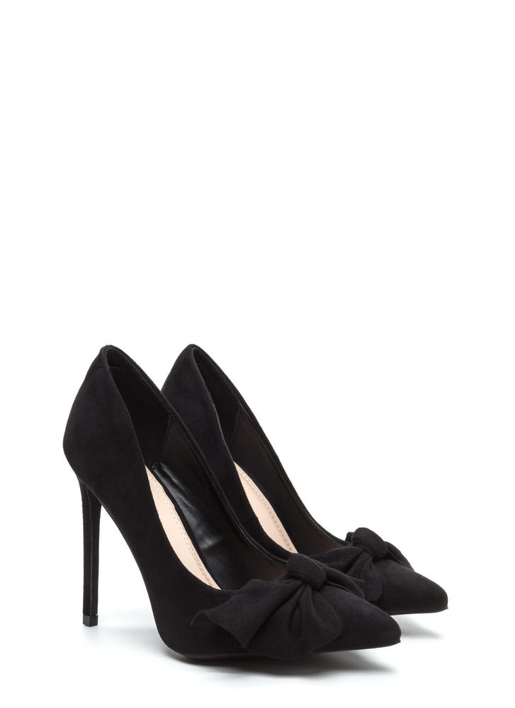 Let's Bow Pointy Faux Suede Heels BLACK