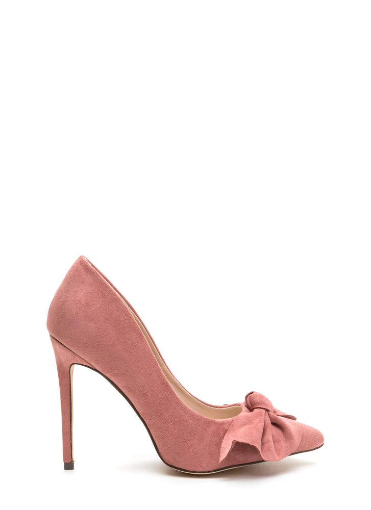 Let's Bow Pointy Faux Suede Heels DUSTYPINK