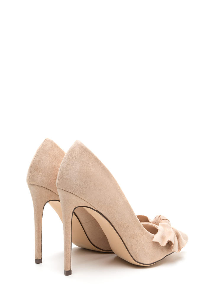 Let's Bow Pointy Faux Suede Heels NUDE