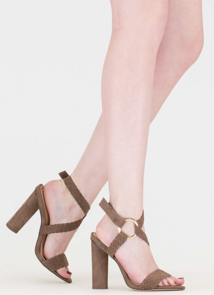 New Destination Chunky Woven Heels TAUPE