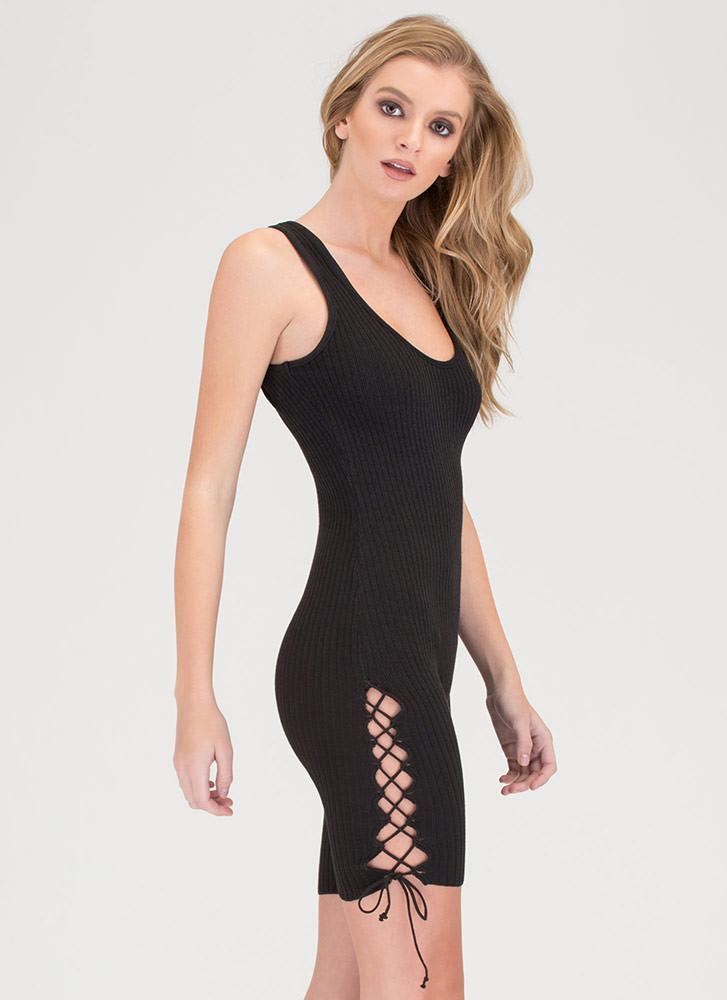 Laced With It Cropped Knit Jumpsuit BLACK