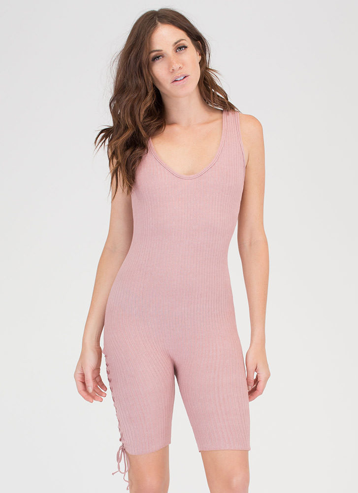 Laced With It Cropped Knit Jumpsuit MAUVE