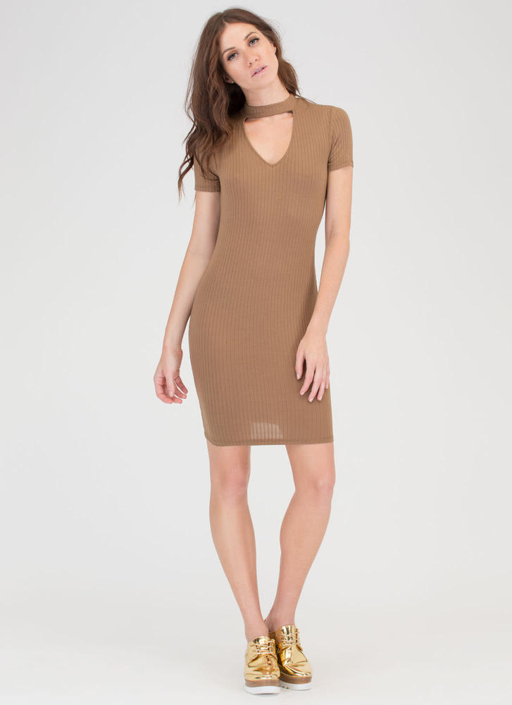 I Could Use Some Collar Rib Knit Dress OLIVE