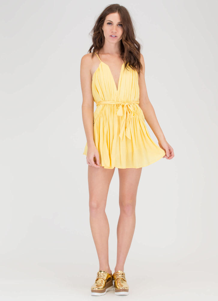 Draped To Meet You Plunging Romper YELLOW