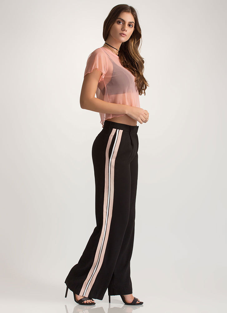 Stripe For The Picking Palazzo Pants BLACK