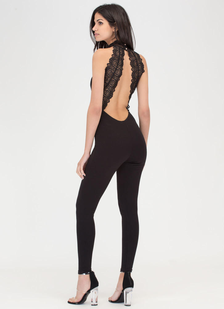 Lace To Lace Cut-Out Jumpsuit BLACK