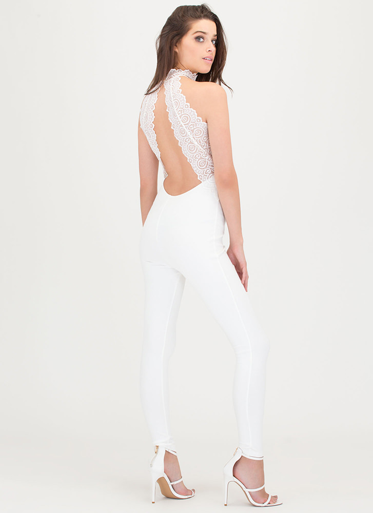 Lace To Lace Cut-Out Jumpsuit IVORY