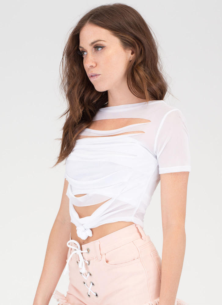 Slash Zone Knotted Sheer Mesh Top WHITE