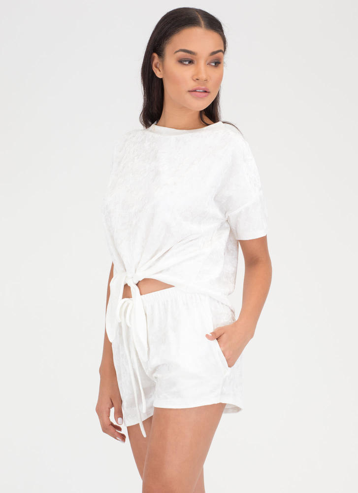 Feel Crushed Velvet Top And Shorts Set IVORY