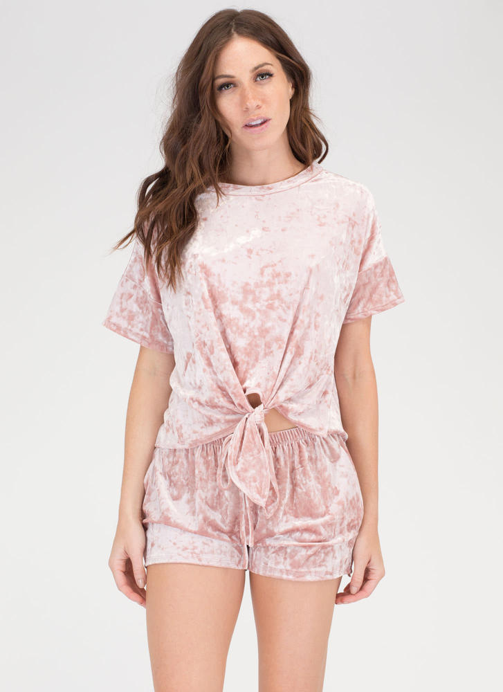 Feel Crushed Velvet Top And Shorts Set MAUVE