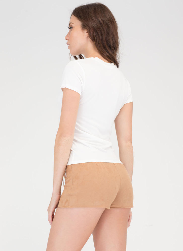 Let's Lace It Faux Suede Shorts CAMEL