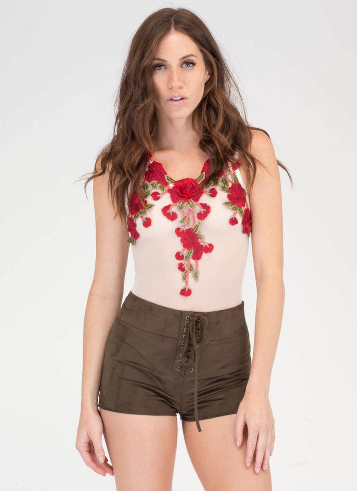 Let's Lace It Faux Suede Shorts OLIVE