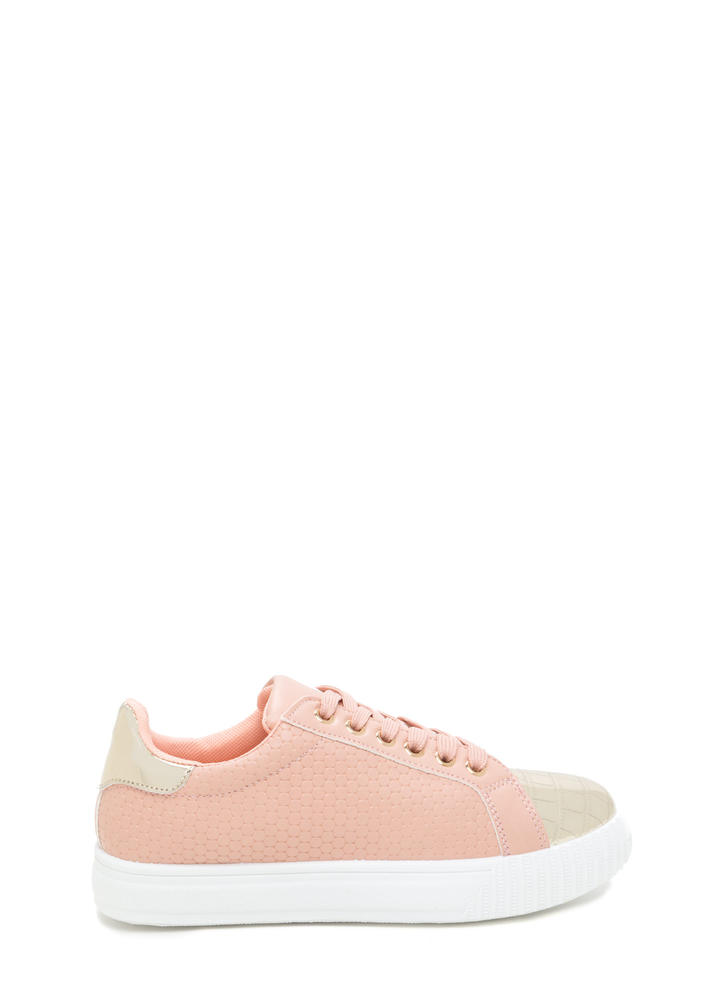 Let's Go Mixed Media Flatform Sneakers PEACH