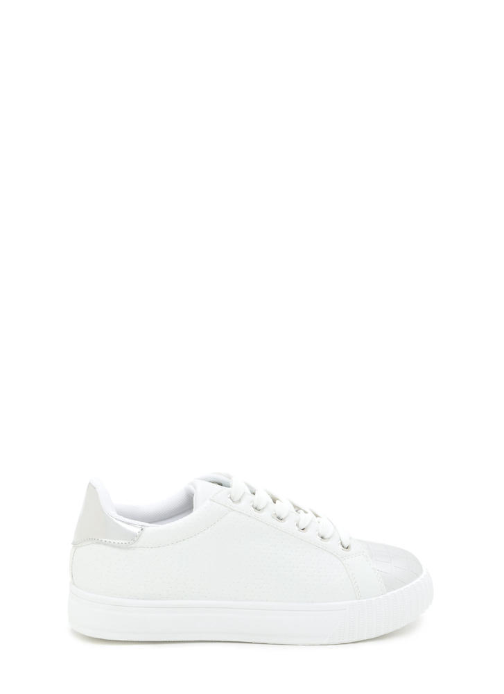 Let's Go Mixed Media Flatform Sneakers WHITE