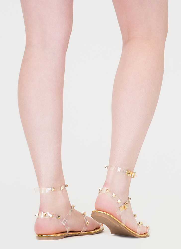 Clear Fave Studded Metallic Sandals GOLD