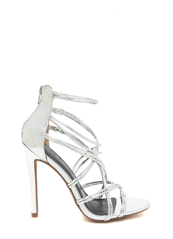 Stylish Step Metallic Caged Heels SILVER