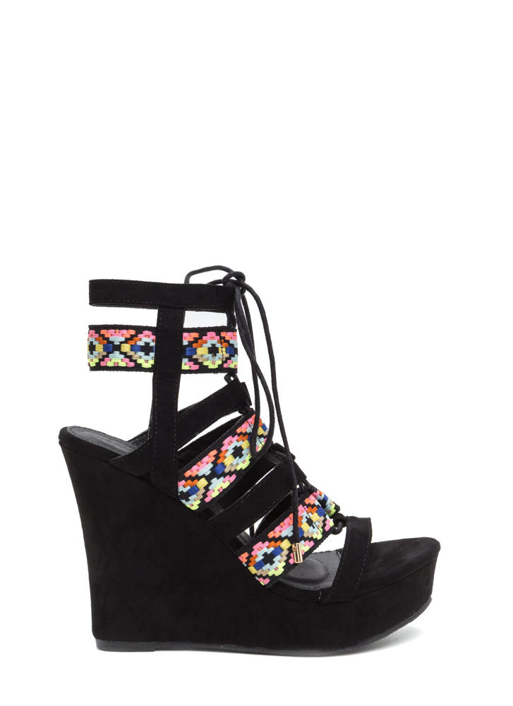 Festive Mood Caged Platform Wedges BLACK