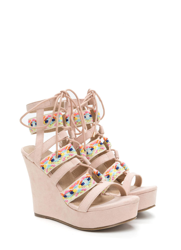 Festive Mood Caged Platform Wedges NUDE