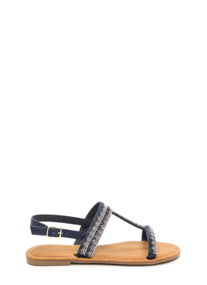 Light My World Glitzy Strappy Sandals NAVY