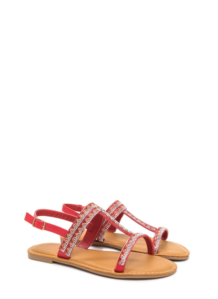 Light My World Glitzy Strappy Sandals RED
