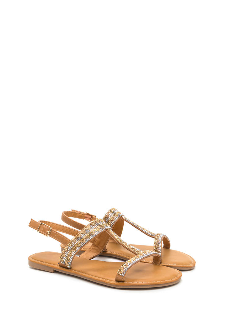 Light My World Glitzy Strappy Sandals TAN