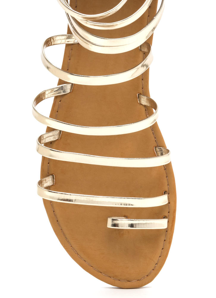 Radiant Style Caged Gladiator Sandals GOLD