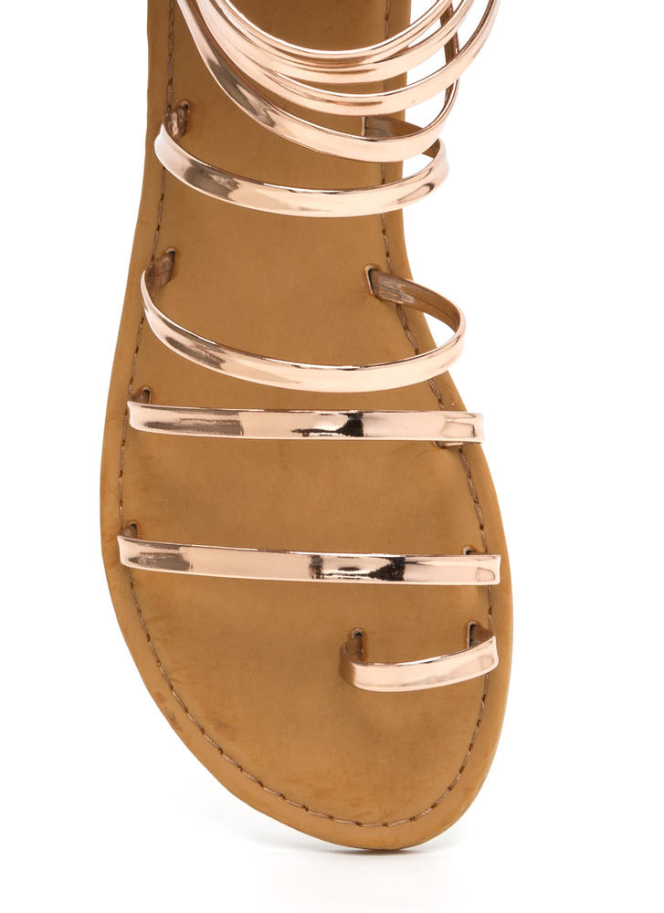 Radiant Style Caged Gladiator Sandals ROSEGOLD