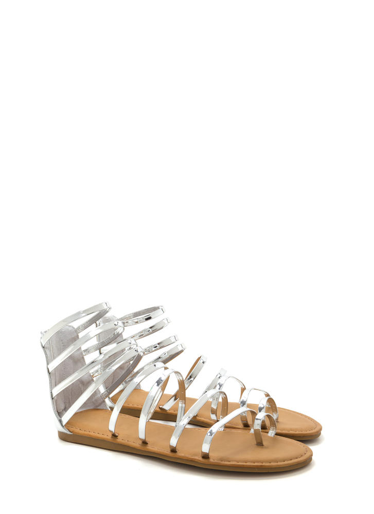Radiant Style Caged Gladiator Sandals SILVER