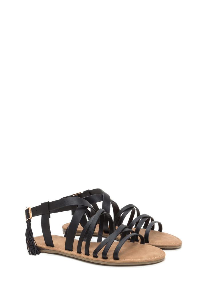 Tassel Me That Faux Leather Sandals BLACK