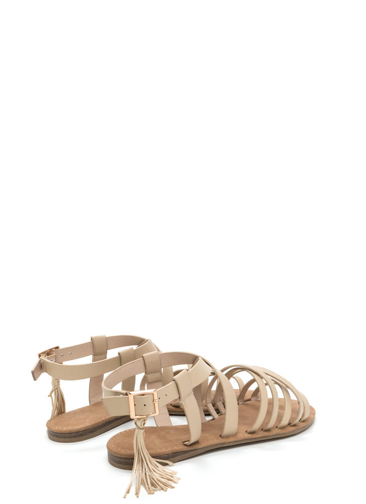 Tassel Me That Faux Leather Sandals NUDE