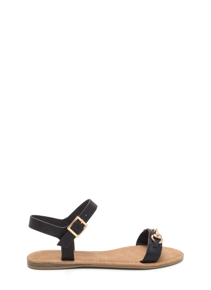 Chic The Truth Faux Leather Sandals BLACK