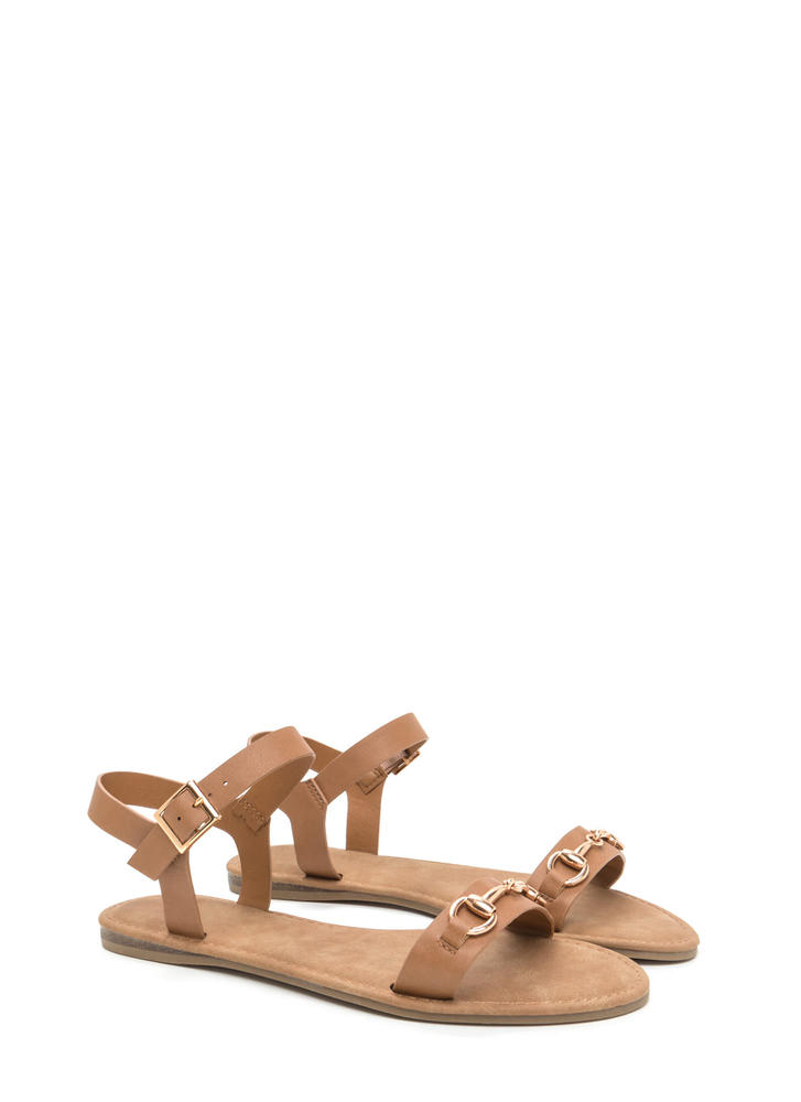 Chic The Truth Faux Leather Sandals NATURAL