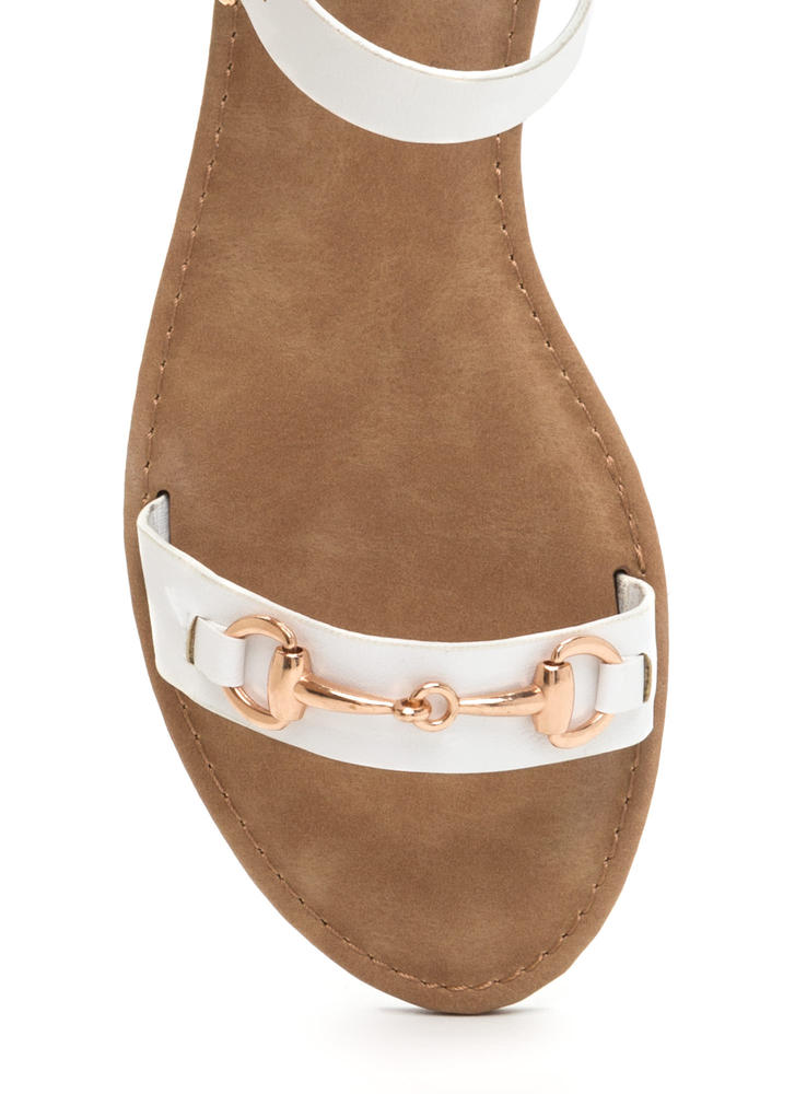 Chic The Truth Faux Leather Sandals WHITE