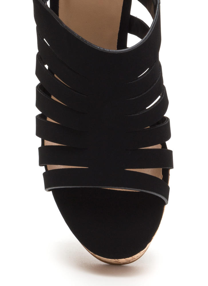 Take A Peek Cut-Out Platform Wedges BLACK