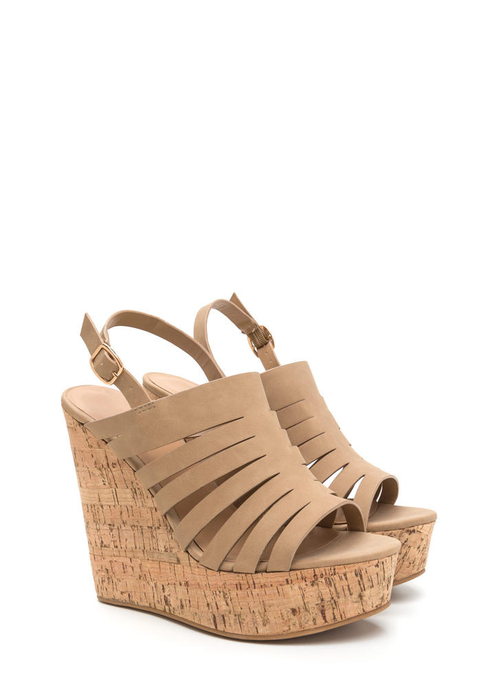 Take A Peek Cut-Out Platform Wedges NATURAL