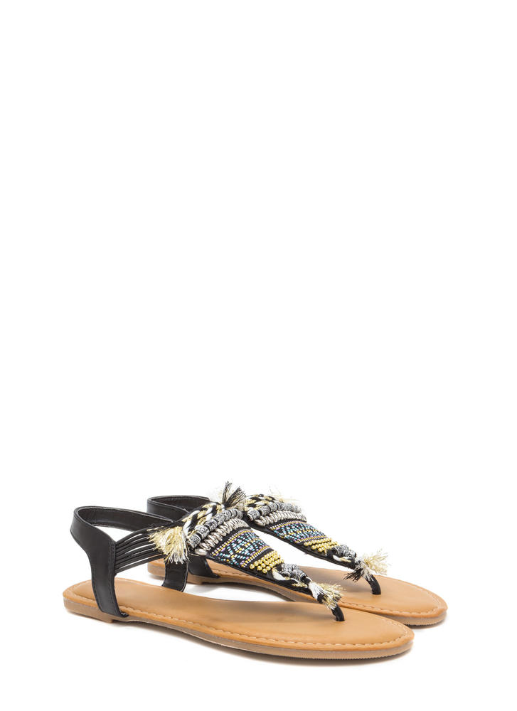 Best Of The Fest Beaded T-Strap Sandals BLACK