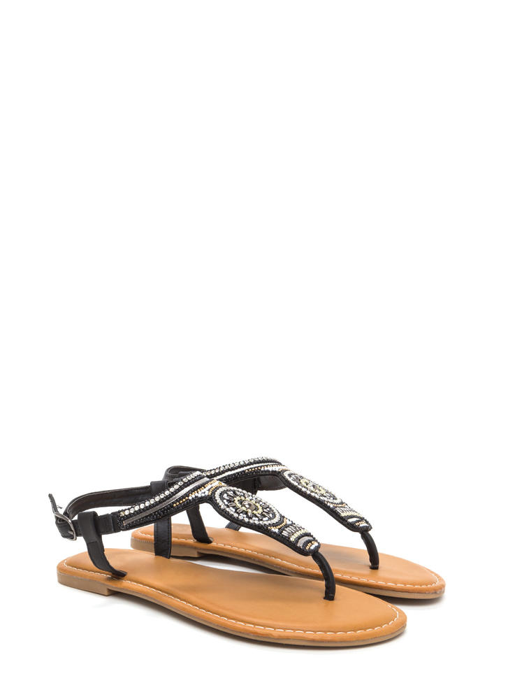 Bead Us To It Glitzy T-Strap Sandals BLACK